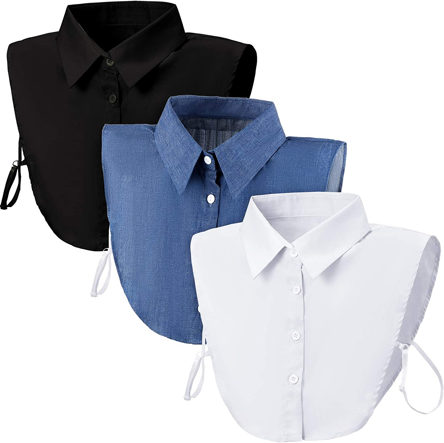 3 Pieces Fake Collars Detachable Blouse Dickey Collars Half Shirts Removable False Collar for Women Girls