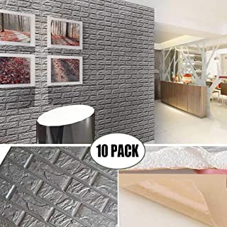 POPPAP 3D Foam Wall Panels Grey Color Peel and Stick Brick Wallpaper Self-Adhesive Removable for TV Walls, Background Wall Decor 10PCS