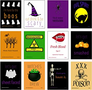 12 Halloween Bottle Labels or Can Labels Use On Wine Beer Soda Scary Spooky Funny 4 x 5 Inch Funny Easy to Use