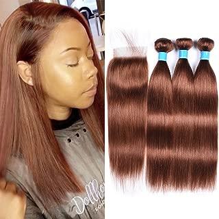 JulyQueen Color 30 Auburn Virgin Straight Hair 3 Bundles with Closure 8A Unprocessed Peruvian Virgin Hair with Closure(14 16 18+12closure, 100G/Bundles)