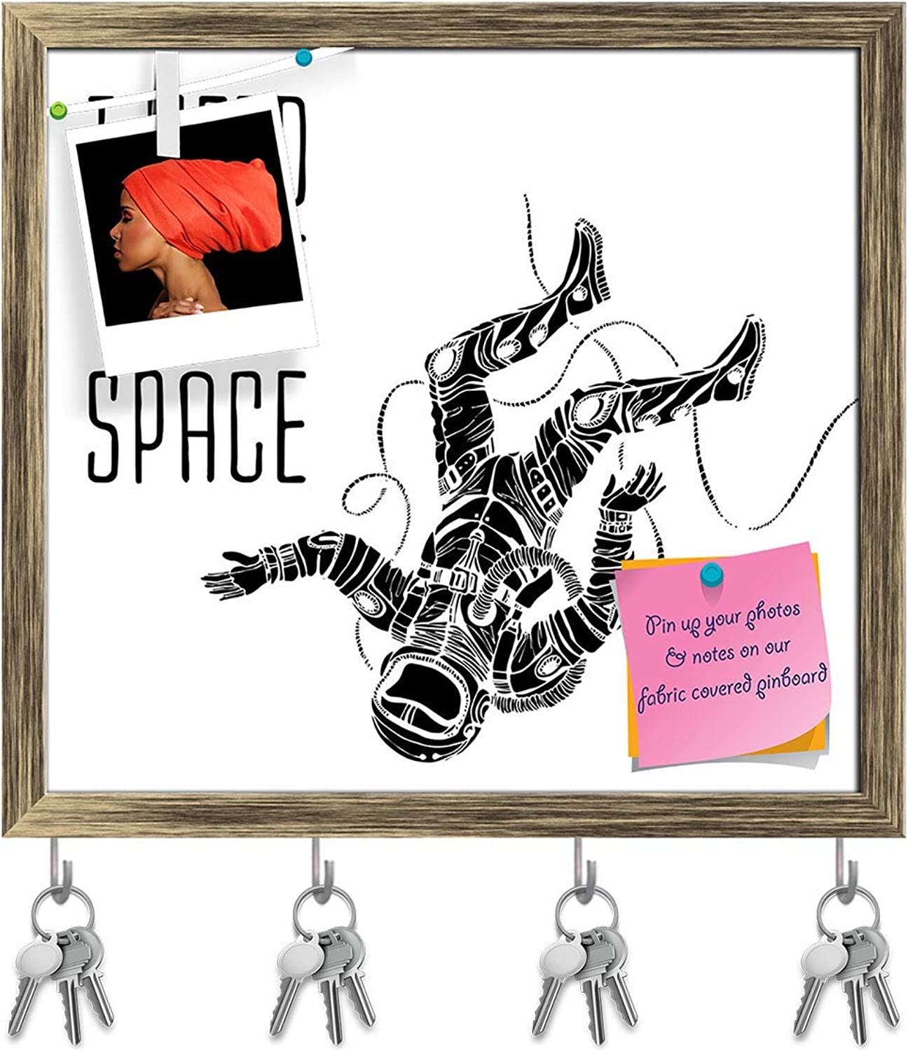 Artzfolio Space Concept with Astronaut D3 Key Holder Hooks   Notice Pin Board   Antique golden Frame 17.4 X 16Inch