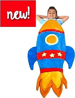 Rocket Blanket Budding Astronauts - Super Fun Design Lets Kids Climb Inside - Premium Quality Rocket Bedding in Blue - Favorite Birthday Gift Kids