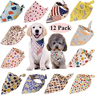 12 Pack Dog Bandanas Washable Dog Bandanas Triangle Dog Bibs Scarf Assortment Pet Kerchief Dog Scarf Accessories for Small Medium Dogs Cats Kitten Puppy Pets