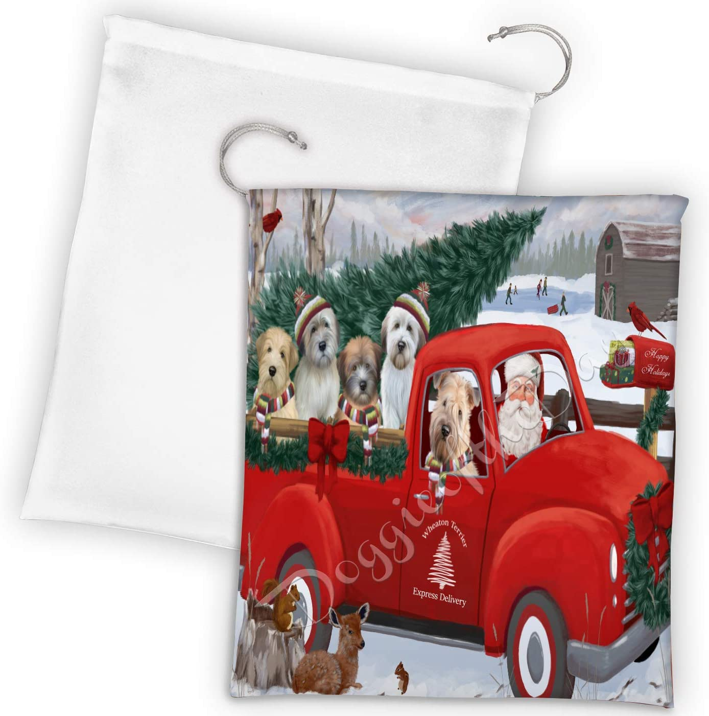 Christmas Santa Express Delivery Red Wheaton Truck Dogs Terrier Latest item Spasm price