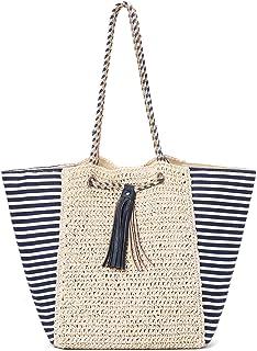Joseko Stroh-Handtasche für Damen, Weben Schultertasche Outdoor Casual Cross Body Bag Top Handle Satchel