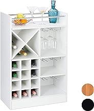 Relaxdays 10028075_49 Wijnrek met glazen houder, 22 flessen, vrijstaand, wijn en champagne, huisbar HxBxD: 96 x 63 x 35 cm, wit, PB (Particle board)