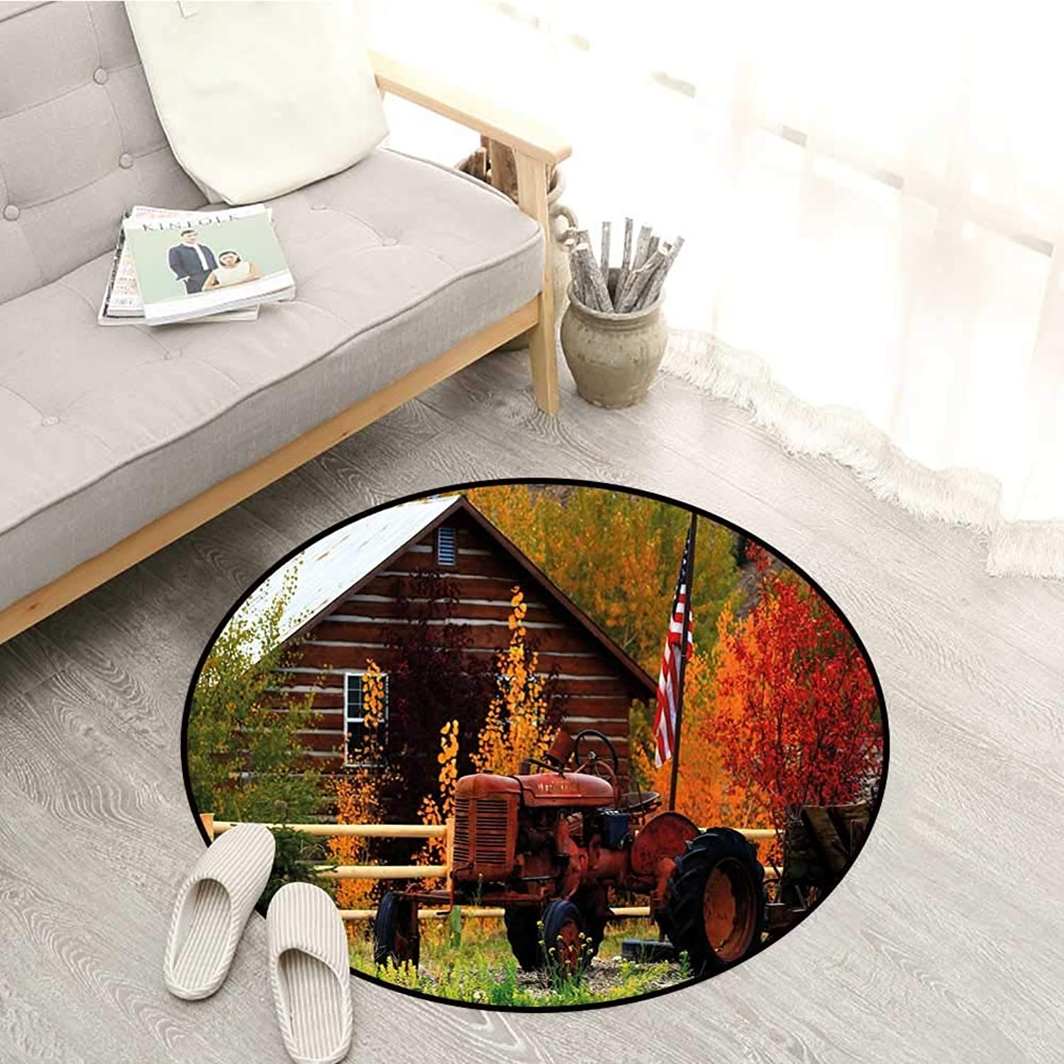 Fall Living Room Mat Rustic Cabin with Rusty Tractor Country Cottage House Seasonal colors US Flag Loyalty Door Floor Mat for Bedroom 4'3  Multicolor