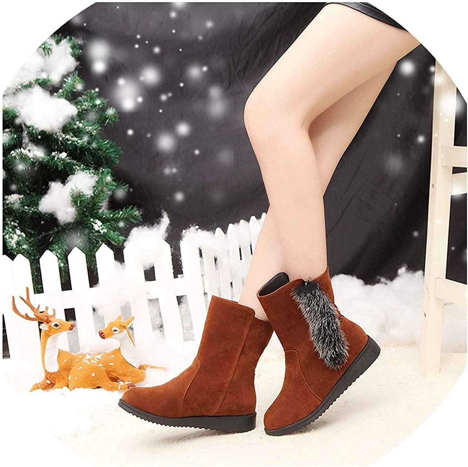 Fashion Snow Boots Female Wedges Plus Suede Winter Boots Casual Warm Flat Women Cotton Boots