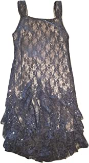Biscotti Girls Lace Sleeveless Special Occasion Sequin Dress, Charcoal Gray, 10