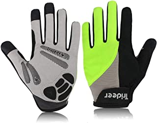 Trideer Padded Full Finger Cycling Gloves, Touch-Screen Mountain Road Gloves Anti-Slip, Bicycle Racing Gloves Biking Gloves