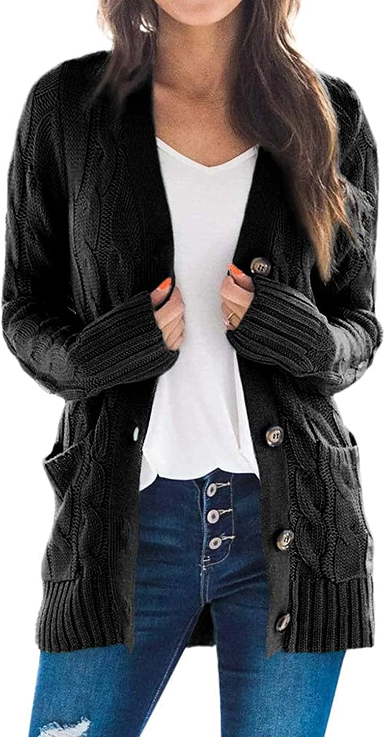 GIGILAUGH Women's Open Front Button Down Cardigan Long Sleeve Cable Knit Sweater Coat with Pockets