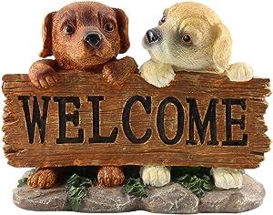 Statua di Benvenuto Dog Multicolore Statua del giardino Puppy Dog Decor per giardino esterno