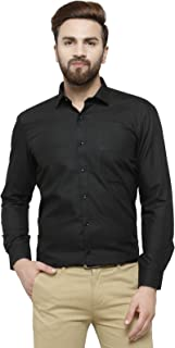 RG Designers Black Solid Slim Fit Full Sleeve Cotton Formal Shirt