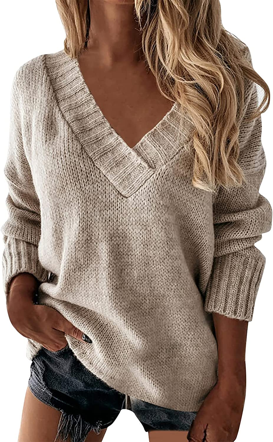 Women Fashion Casual Long Sleeve Jumpers Loose V Neck Solid Plain Sweaters Knit Pullover Casual Tunic Top