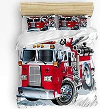 Soft Kids Duvet Comforter Cover Set Bed Sheet Set for Boys Girls,Fire Truck Model Lover Bedding Sets for Women Men Bedroom Decor,Include 1 Comforter Cover with 2 Pillow Cases Full Size