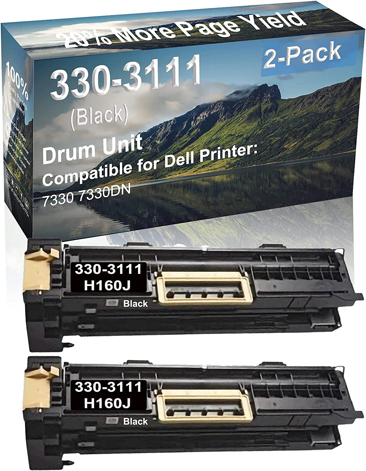 2-Pack Compatible Drum Unit (Black) Replacement for Dell 330-3111 H160J Drum Kit use for Dell 7330 7330DN Printer