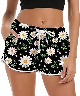 Shorts Mujer Pantalones Cortos de Nadar Moda Pantalones de Pijama Cortos Mujer Traje de baño de Verano Gimnasio Entrenamiento Pantalones Deportivos con cordón Ajustable Pantalones de Yoga