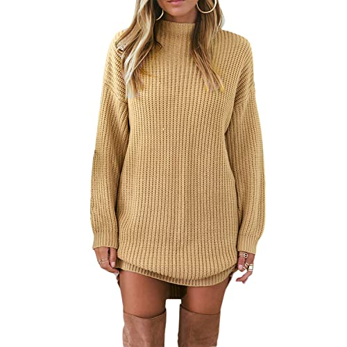 39dbc14bf6 Asvivid Womens Round Neck Long Sleeve Ribbed Knitted Loose Fall Long  Pullover Tops Short Sweater Dress