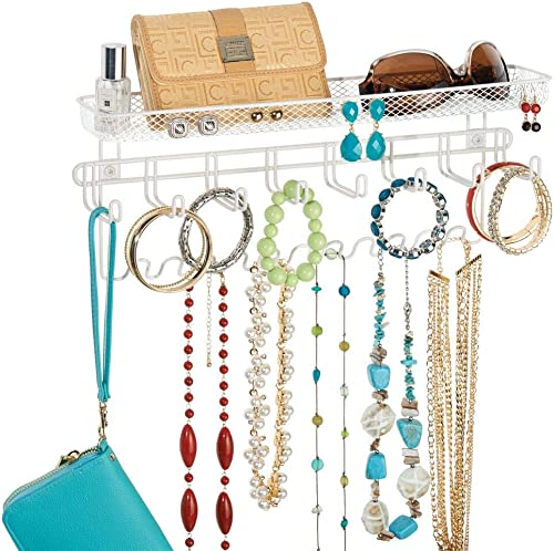 mDesign Decorative Metal Closet Wall Mount Jewelry Accessory Organizer for Storage of Necklaces, Bracelets, Rings, Ea...