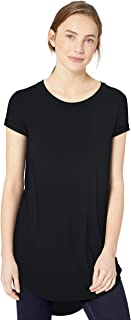 Daily Ritual Women's Jersey Short-Sleeve Open Crewneck Tunic