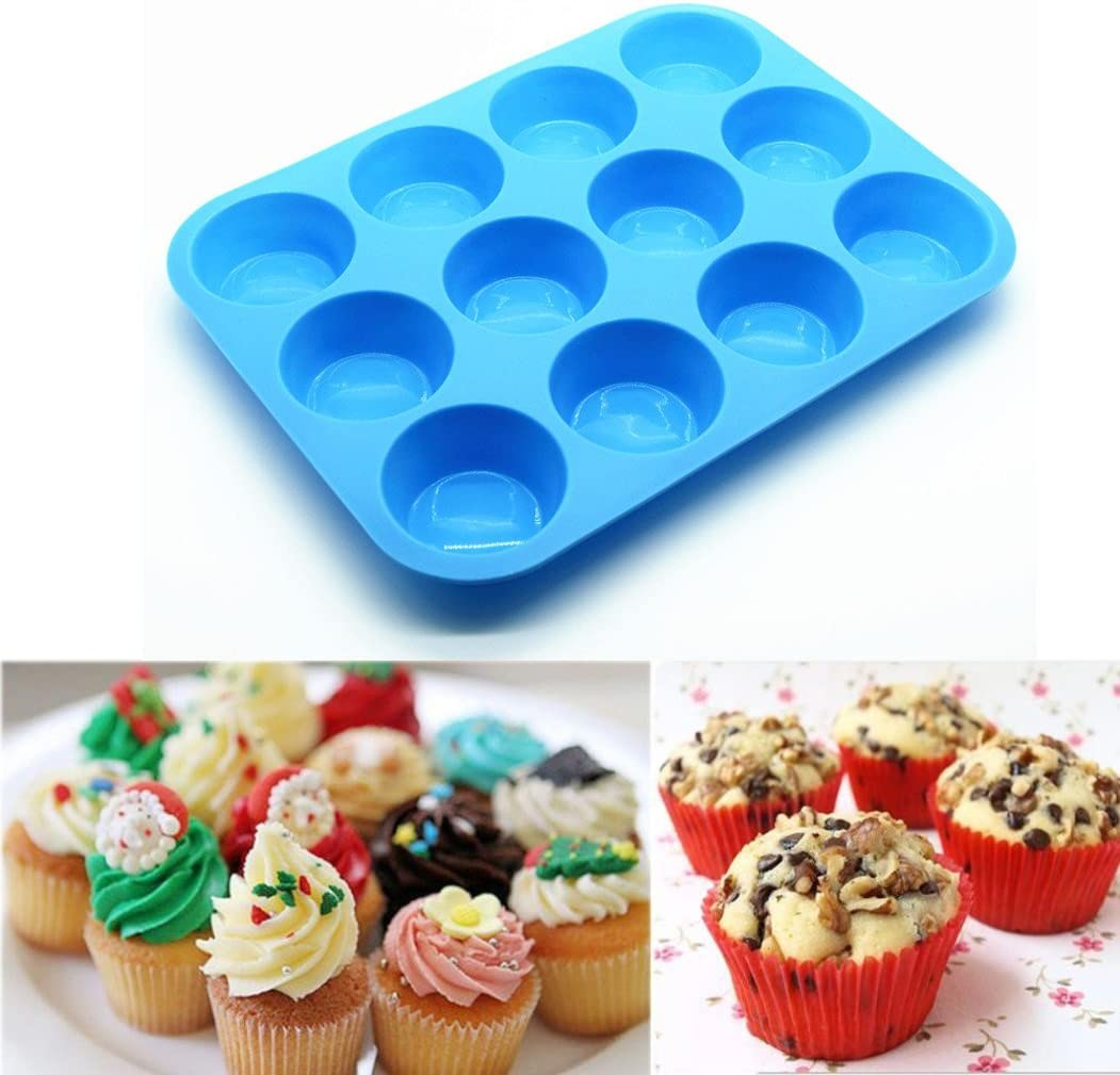Flurries🧁12 Cup Silicone Muffin Pan Max 62% OFF Non-Stick trend rank - S Cupcake