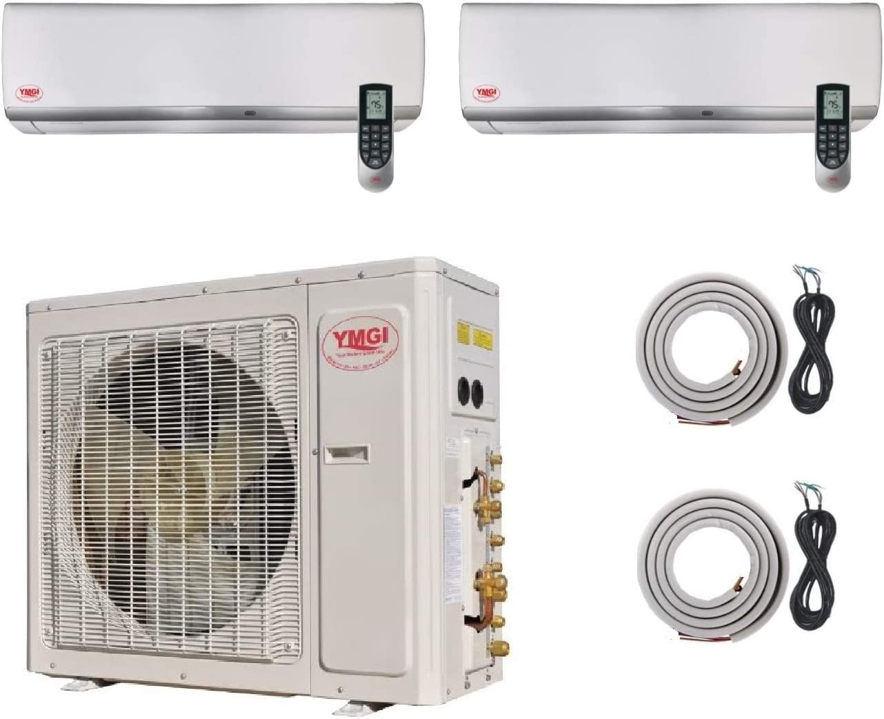 Ymgi Two Zone 42000 Btu 24k 18k 21 Seer Wall Mounted Ductless Mini Split Air Conditioner With Heat Pump For Home Office Apartment Appliances