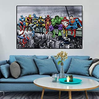 Fenfei Wall Art Cartoon Poster Canvas Painting Abstract Skyscraper Superheroes Wall Pictures for Kids Living Room Cuadros Home Decor 50cm x75cm No Frame