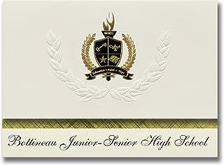 Bottineau Junior Senior High School (Bottineau, ND), Schulabschlussankündigungen, Präsidential-Elite-Packung mit 25 Goldfarbenen und schwarzen metallischen Folienversiegelungen B078WGY4ZX  Angemessener Preis