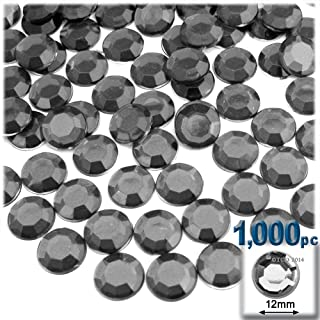 The Crafts Outlet 1000-Piece Flatback Acrylic Round Rhinestones, 12mm, Charcoal Gray