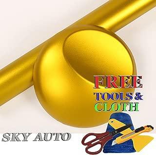 Sky Auto INC Premium Car Satin Matte Chrome Plating Vinyl Film Wrap Sticker Sheet Air Release (3ft x 5ft, Gold)