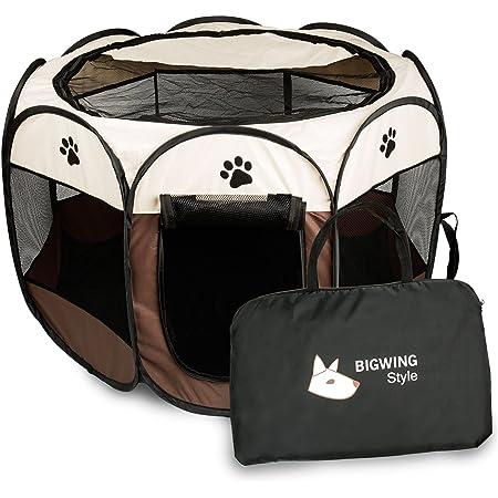 BIGWING 折りたたみ 八角形 ペットサークル プレイサークル 犬 猫 兼用 コンパクト メッシュ お出かけ用品 コーヒー L