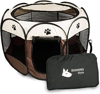 ペットサークル 折りたたみ BIGWING 八角形 プレイサークル 犬 猫 兼用 コンパクト メッシュ お出かけ用品 コーヒー S