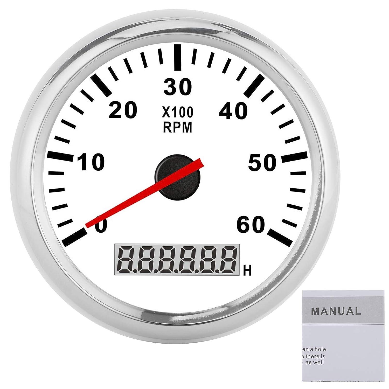 Tachometer 6000RAM sale Waterproof Gauge Backligh Red Daily bargain sale 85mm