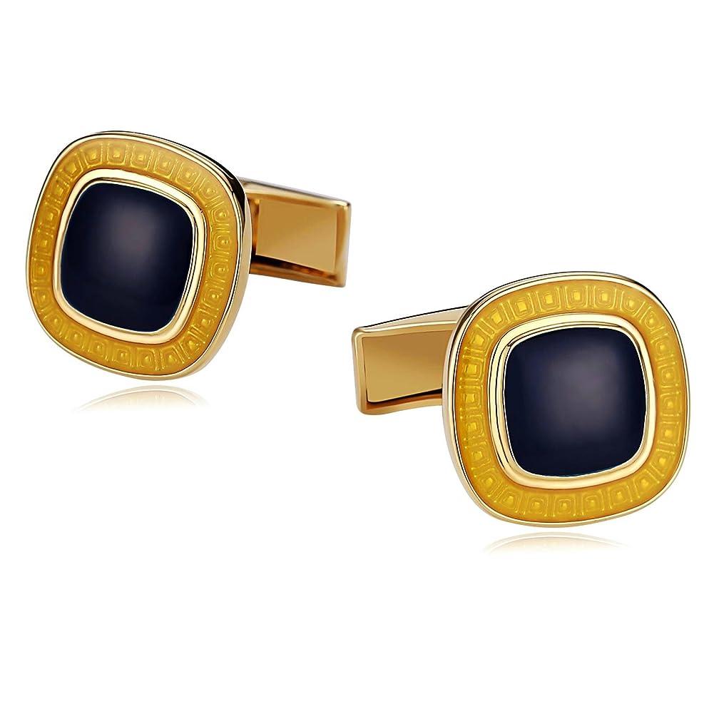 分配しますシリーズ風味MoAndy ステンレススチール メンズ カフリンク 丸みを帯びたコーナー 滑らか ギリシャ ゴールド ブルー