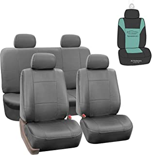FH Group Fh Pu002114 Classic Pu Leather Car Seat Covers Airbag Compatible And Split Bench Solid Grey Color Universal PU Le...