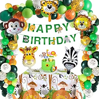 Safari Birthday Decorations, 58PC Wild Jungle Theme Party Supply Animal Balloon Garland Kit Baby Shower Decor for Boy with...