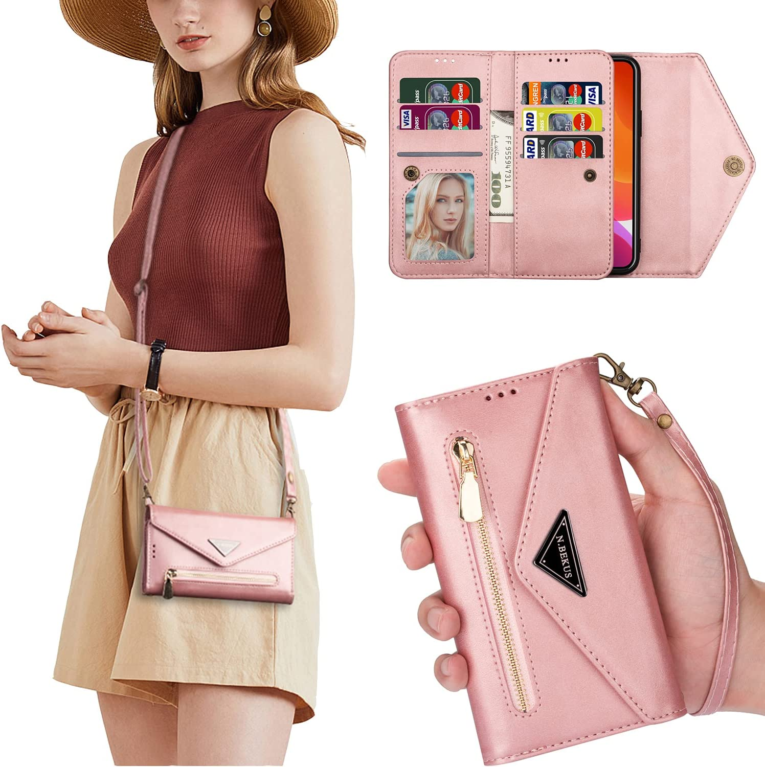 Crossbody Case for iPhone 13 Pro Max 6.7 inch Bumper Cover with Lanyard, Adjustable Shoulder Strap Leather Card Wallet Case (Rose Gold)