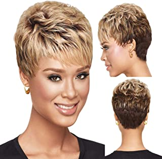Short Gold Pixie Cuts Hair Synthetic Short Wigs For Black Women Natural Short Hair Wigs (a)