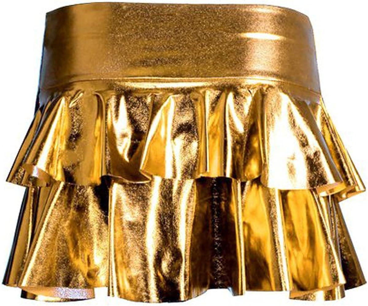 Girls Walk Women's Metallic Shiny Rara Skirt Ladies Short Stretchy Frilled Rara Mini Skirt