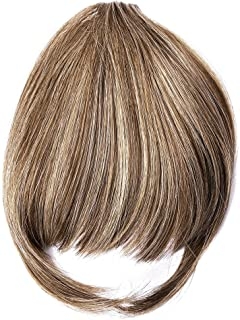 Ty.Hermenlisa Clip in Hair Bang Synthetic Extensions Heat Friendly Neat Fringe Hairpiece Accessory, 1Pc, 20g, Zooey-Buttered Brown (88T27+10)