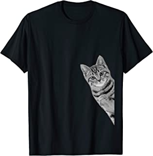 Peeking Around the Corner Cat Tshirt - Pet Cats Peek T-Shirt T-Shirt