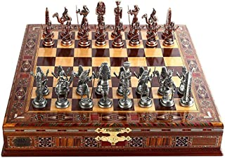 Metal Chess Set With Antique Bronze Statue Of Egyptian Pharaoh, Handmade, Natural Solid Wood Chess Board, 9 Cm Hidden King...