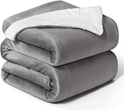 Bedsure Sherpa Blanket Szare koce wysokiej jakości, przytulne koce, bardzo gruby ciepły koc na sofę / koc na sofę w dwustr...