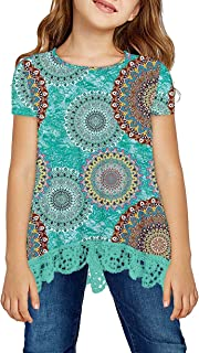 storeofbaby Girls Casual Tunic Tops Short Sleeve Loose Soft Blouse T-Shirt for 4-13 Years