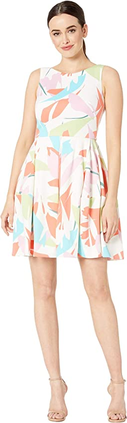 Sleeveless Abstract Print Fit and Flare Dress
