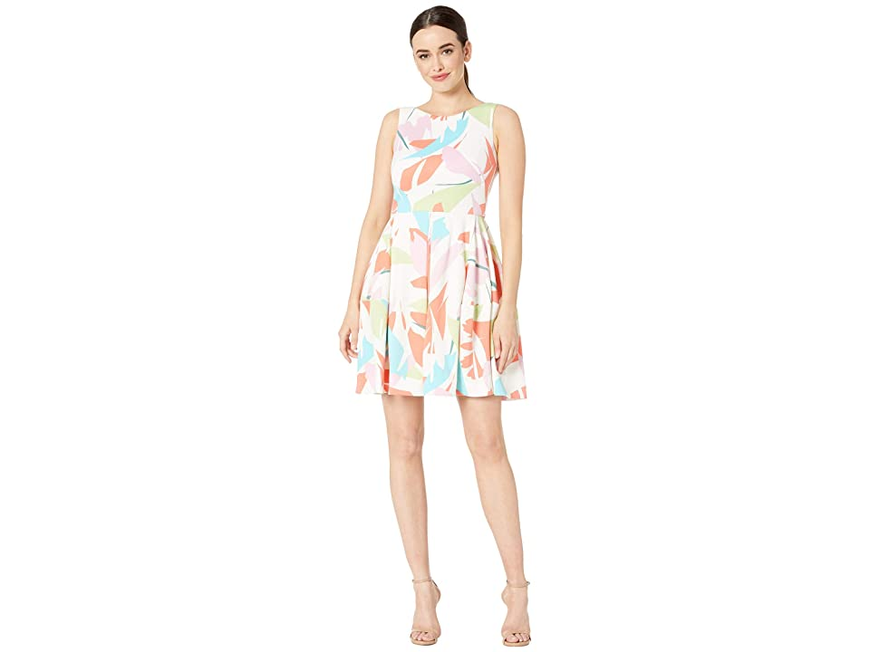 Taylor Sleeveless Abstract Print Fit and Flare Dress (Ivory/Coral) Women