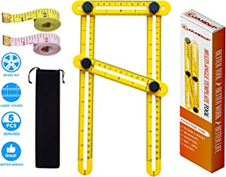 Premium ABS Angle Measurement Tool | Plastic Angle Template Tool | Yellow Universal Angle Ruler | 5 Bonus Items - Protective Pouch, 2 Tape Measures, Instruction and High-Grade Packing Box