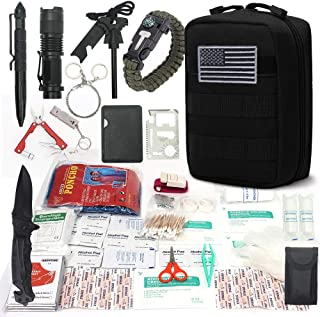 DONGKER Survival First Aid Kit Emergency Survival Kit Upgraded 2-1 First Aid Supply Compatible Outdoor Survival Gear Tactical Gear Molle Trauma Bag for Camping Hunting Hiking Home Outdoor