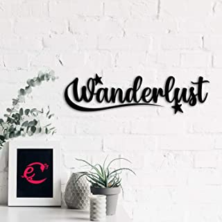 eCraftIndia Wanderlust Black Engineered Wood Wall Art Cutout, Ready to Hang Home Decor, one Size (WMDFCO106)