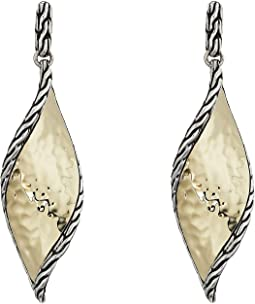 Classic Chain Wave Hammered Drop Earrings in 18K Gold